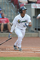Cedar Rapids Kernels Luis Arraez (2) swings during the game against the Clinton LumberKings at Veterans Memorial Stadium on April 16, 2016 in Cedar Rapids, Iowa.  Cedar Rapids won 7-0.  (Dennis Hubbard/Four Seam Images)
