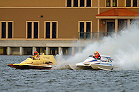 """E-37 """"Hire Voltage"""" (5 Litre Hydroplane) and John Taggart, F-1 """"The Buckeye Kid"""" (Ron Jones cabover hydroplane)"""