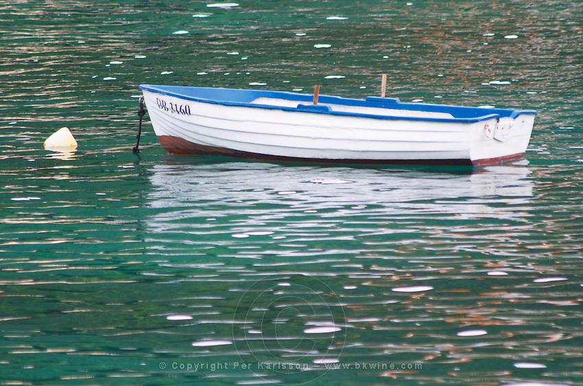 A white and blue rowing boat moored by a white buoy on a green sea. Uvala Sumartin bay between Babin Kuk and Lapad peninsulas. Dubrovnik, new city. Dalmatian Coast, Croatia, Europe.