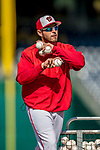 28 April 2017: Washington Nationals bullpen catcher Octavio Martinez tosses batting practice prior to a game against the New York Mets at Nationals Park in Washington, DC. The Mets defeated the Nationals 7-5 to take the first game of their 3-game weekend series. Mandatory Credit: Ed Wolfstein Photo *** RAW (NEF) Image File Available ***