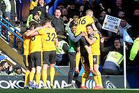 Raul Jimenez celebrates scoring Wolves opening goal during Chelsea vs Wolverhampton Wanderers, Premier League Football at Stamford Bridge on 10th March 2019