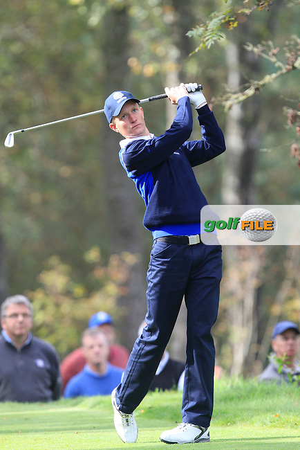 Marcus Kinhult (SWE) on the 2nd tee of the Mixed Fourballs during the 2014 JUNIOR RYDER CUP at the Blairgowrie Golf Club, Perthshire, Scotland. <br /> Picture:  Thos Caffrey / www.golffile.ie