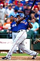 "Texas Rangers third baseman Adrian Beltre #29 smacks a first inning home run during the MLB exhibition baseball game against the ""AAA"" Round Rock Express on April 2, 2012 at the Dell Diamond in Round Rock, Texas. The Rangers out-slugged the Express 10-8. (Andrew Woolley / Four Seam Images)."