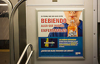 Advertising in Spanish in the subway in New York from the NYC Dept. of Health admonishes consumers from letting their children drink sugary beverages, seen on Sunday, January 12, 2014. Prior to leaving office New York Mayor Michael Bloomberg attempted to prohibit food establishments that the city licenses from selling high calorie drinks such as cola in containers larger than 16 ounces. (© Richard B. Levine)