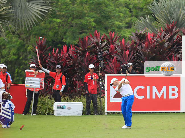 Sergio Garcia (ESP) on the 4th tee during Round 4 of the CIMB Classic in the Kuala Lumpur Golf &amp; Country Club on Sunday 2nd November 2014.<br /> Picture:  Thos Caffrey / www.golffile.ie