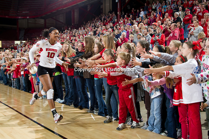Wisconsin Badgers Alexis Mitchell (10) during an NCAA women's college volleyball game against the Ohio State Buckeyes on November 4, 2011. The Buckeyes won 3-1. (Photo by David Stluka)