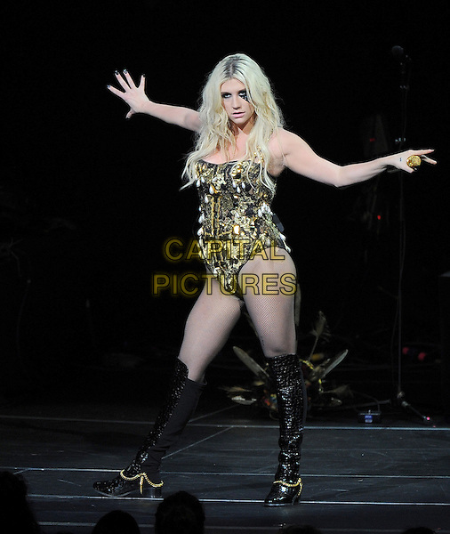 Ke$ha, Kesha Rose Sebert.KIIS FM Jingle Ball Night 2 held at Nokia Live in Los Angeles, California, USA..3rd December 2012 .on stage in concert music gig performing live performance full length gold leotard black boots sequins sequined hands arms .CAP/DVS.©DVS/Capital Pictures.