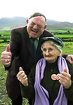 TITLE; ARE YOU SERIOUS?<br />Jackie Healy-Rae enjoys a joke with Kerry's oldest citizen Katie O'Sullivan from Beaufort.<br />One of the images from Don MacMonagle's book of 100 photographs of Deputy Jackie Healy-Rae entitled 'Jackie - Keeping Up Appearance'.<br />Picture by Don MacMonagle