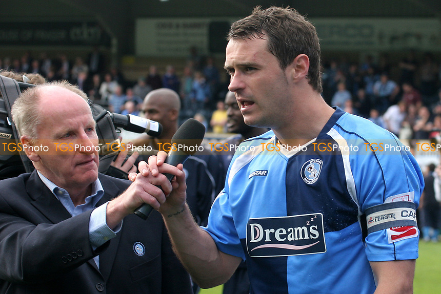 Sky Sports Commentator and Wycombe fan, Alan Parry, interviews captain, David McCracken after the match during Wycombe Wanderers vs Notts County, Coca Cola League Division Two Football at Adams Park on 2nd May 2009