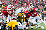 Wisconsin Badgers defense tackles Iowa Hawkeyes full back Drake Kulick (45) during an NCAA College Big Ten Conference football game Saturday, November 11, 2017, in Madison, Wis. The Badgers won 38-14. (Photo by David Stluka)