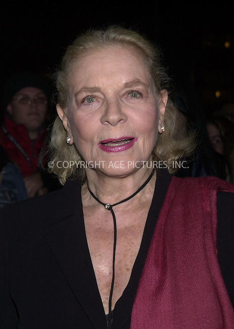 "Lauren Bacall at the screening of ""Dogville"" during the NY Film Festival. New York, October 4, 2003. Please byline: NY Photo Press.   ..*PAY-PER-USE*      ....NY Photo Press:  ..phone (646) 267-6913;   ..e-mail: info@nyphotopress.com"