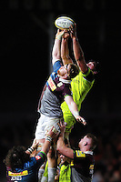 Dom Barrow of Leicester Tigers competes with James Chisholm of Harlequins for the ball at a lineout. Aviva Premiership match, between Harlequins and Leicester Tigers on February 24, 2017 at the Twickenham Stoop in London, England. Photo by: Patrick Khachfe / JMP