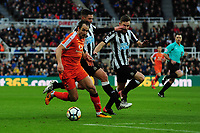 Danny Hylton of Luton Town battles with Ciaran Clark of Newcastle United and Paul Dummett of Newcastle United during Newcastle United vs Luton Town, Emirates FA Cup Football at St. James' Park on 6th January 2018