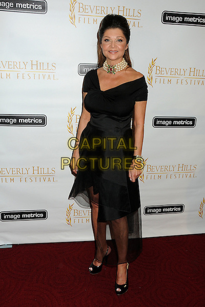 Sonia Nassery Cole.12th Annual Beverly Hills Film Festival Opening Night held at the AMPAS Samuel Goldwyn Theater, Beverly Hills, California, USA..April 25th, 2012.full length dress black top pearl necklace choker brooch red green.CAP/ADM/BP.©Byron Purvis/AdMedia/Capital Pictures.