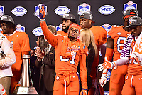 Charlotte, NC - DEC 2, 2017: Clemson Tigers cornerback Ryan Carter (31) celebrates on stage after winning the ACC Championship game over Miami 38-3 at Bank of America Stadium Charlotte, North Carolina. (Photo by Phil Peters/Media Images International)