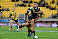 Highlanders&rsquo; Thomas Umaga-Jensen in action during the Super Rugby - Hurricanes v Highlanders at Westpac Stadium, Wellington, New Zealand on Friday 8 March 2019. <br /> Photo by Masanori Udagawa. <br /> www.photowellington.photoshelter.com