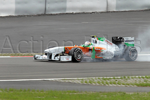 22 07 2011  Formula 1 GP Germany Nuerburgring 22 07 11 Paul Tue Resta team Force India locks up his brakes motor racing Formula 1 Nuerburg Nuerburgring  .