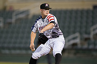 Kannapolis Intimidators relief pitcher Matt Foster (24) in action against the Delmarva Shorebirds at Kannapolis Intimidators Stadium on June 30, 2017 in Kannapolis, North Carolina.  The Shorebirds defeated the Intimidators 6-4.  (Brian Westerholt/Four Seam Images)