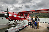 USA, Alaska, Redoubt Bay, Big Bay River, preparing to board the float plane from Redoubt Bay Lodge back to Anchorage