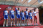 Groupama-FDJ at sign on before the start of Strade Bianche 2019 running 184km from Siena to Siena, held over the white gravel roads of Tuscany, Italy. 9th March 2019.<br /> Picture: Seamus Yore | Cyclefile<br /> <br /> <br /> All photos usage must carry mandatory copyright credit (© Cyclefile | Seamus Yore)