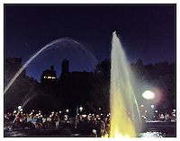 NEW YORK, NY - July 18: Photograph of Washington Sq Park fountain at night in Greenwich village in New York, New York on July 18, 2010. Photo Credit: Thomas R. Pryor
