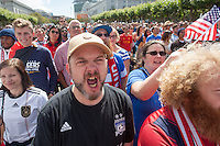 "San Francisco, CA - Thursday, June 26, 2014: A  USA soccer fan who gave the name ""Uncle Bob"" chants during the USA vs. Germany first round World Cup match at a public viewing at the Civic Center in San Francisco, CA"