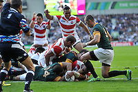Michael Leitch scores a try for Japan. Rugby World Cup Pool B match between South Africa and Japan on September 19, 2015 at the Brighton Community Stadium in Brighton, England. Photo by: Patrick Khachfe / Stewart Communications