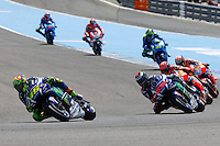 Valentino Rossi, Jorge Lorenzo, Mark Marquez and Dani Pedrosa in MotoGP race in Motorcycle Championship GP, in Jerez, Spain. April 24, 2016