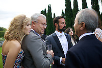 Elena Perminova, Alexander Lebedev, Evgeny Lebedev and Raffy Manoukian at Elton John's White Tie and Tiara Ball