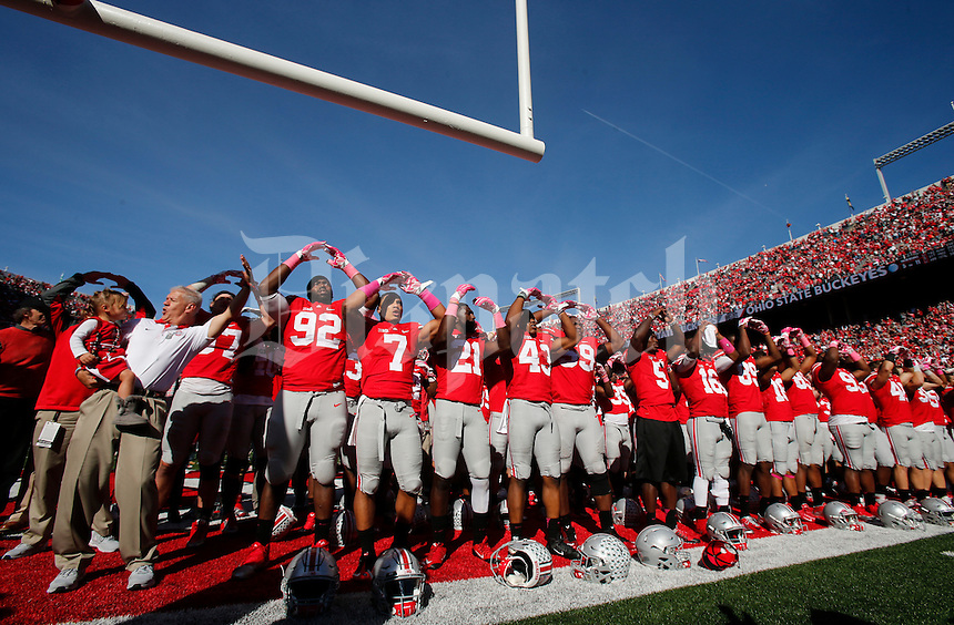 "The Ohio State Buckeyes sing ""Carmen Ohio"" following Saturday's NCAA Division I football game against Maryland at Ohio Stadium in Columbus on October 10, 2015. Ohio State won the game 49-28. (Dispatch Photo by Barbara J. Perenic)"