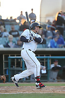 A.J. Reed (40) of the Lancaster JetHawks bats during a game against the Lake Elsinore Storm at The Hanger on May 9, 2015 in Lancaster, California. Lancaster defeated Lake Elsinore, 3-1. (Larry Goren/Four Seam Images)