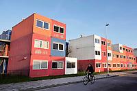 Nederland Amsterdam  2019. Containerwoningen voor studenten in Amsterdam-Noord bij de NDSM Werf. Foto Berlinda van Dam / Hollandse Hoogte