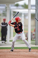 Jason Willow (19) of the Canada Junior National Team at bat during an exhibition game against a Boston Red Sox minor league team on March 31, 2017 at JetBlue Park in Fort Myers, Florida.  (Mike Janes/Four Seam Images)