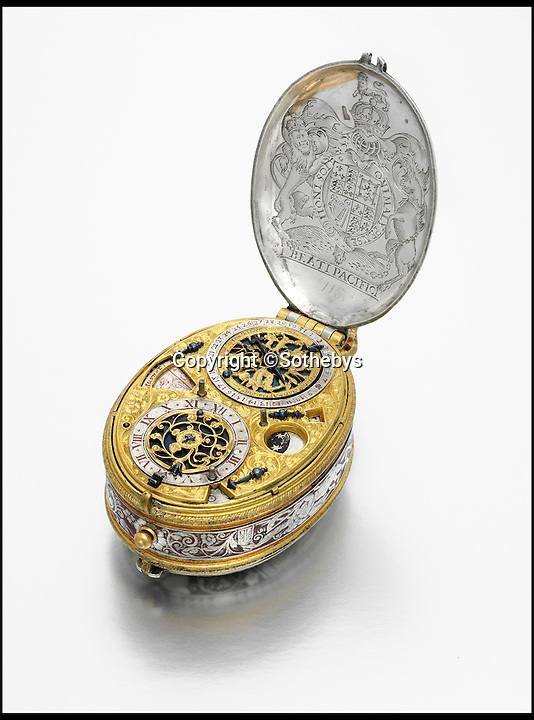 BNPS.co.uk (01202 558833)<br /> Pic: Sothebys/BNPS<br /> <br /> David Ramsay: A circa 1618 early silver and gilt-metal oval astronomical verge watch with portrait engraving of King James I sold for &pound;989,000.<br /> <br /> An ornate watch made for King James I that has survived the past 600 years perfectly in tact has sold for just shy of &pound;1 million -  four times its initial estimate.<br /> <br /> The silver and gilt watch was commissioned by King James, the son of Mary Queen of Scots, in 1618 and made by his chief clockmaker David Ramsay.<br /> <br /> Experts suspect the King had the intricate watch made as a gift for a family member, possibly Frederick V, who was husband to his daughter Elizabeth.<br /> <br /> The watch had been tipped to fetch between &pound;150,000 and &pound;250,000 at an auction held by London saleroom Sotheby's but when the hammer fell the bidding had reached a staggering &pound;989,000.