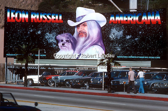 Leon Russell billboard on the Sunset Strip circa 1978