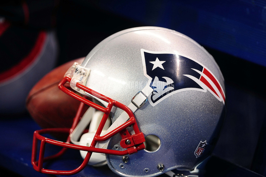 Feb 5, 2012; Indianapolis, IN, USA; Detail view of the New England Patriots helmet on the bench before Super Bowl XLVI against the New York Giants at Lucas Oil Stadium.  Mandatory Credit: Mark J. Rebilas-