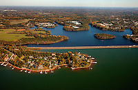 Charlotte aerial photography - October 2010 - of Lake Norman and Interstate 77 in northern Mecklenburg County.