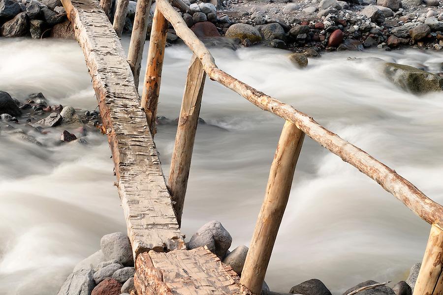 Foot log bridge over Nisqually River near Cougar Rock Campground, Mount Rainier National Park, Washington, USA