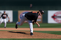 Oregon State Beavers starting pitcher Bryce Fehmel (26) follows through on his delivery during a game against the Gonzaga Bulldogs on February 16, 2019 at Surprise Stadium in Surprise, Arizona. Oregon State defeated Gonzaga 9-3. (Zachary Lucy/Four Seam Images)