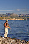 Fly fishing along the shores of Lake Pleasant in Arizona