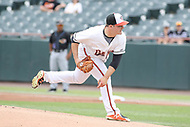 Bowie, MD - May 6, 2018: Bowie Baysox pitcher Keegan Akin (41) throws a pitch during the MiLB game between Akron and Bowie at  Baysox Stadium in Bowie, MD.  (Photo by Elliott Brown/Media Images International)