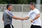 05 September 2015: Iona head coach Fernando Barboto (left) and Duke head coach John Kerr (right) shake hands. The Duke University Blue Devils hosted the Iona University Gaels at Koskinen Stadium in Durham, NC in a 2015 NCAA Division I Men's Soccer match. Duke won the game 2-1.