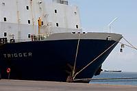 O navio MV Trigguer, de bandeira libanesa, carrega 10.200 cabeças de gado com destino a Venezuela, de onde retorna para novo carregamento, este para o Libano.  Com cinquenta tripulantes sírios e capacidade para transportar mais de  10.500 cabeças de gado. <br /> Foto Paulo Santos<br /> Porto de Vila do  Conde, Barcarena, Pará, Brasil.<br /> 08/10/2013