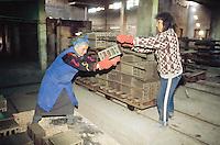 Bulgaria. Province Oblast Lovech. Lukowit. Brick factory. Industrial site. Women workers. © 1997 Didier Ruef