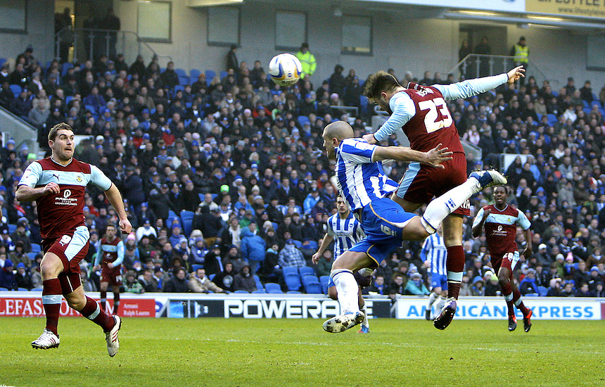 Goal attempt by Burnley's Charlie Austin ..Football - npower Football League Championship - Brighton and Hove Albion v Burnley - Saturday 23rd February 2013 - The AMEX Stadium - Falmer - Brighton..© CameraSport - 43 Linden Ave. Countesthorpe. Leicester. England. LE8 5PG - Tel: +44 (0) 116 277 4147 - admin@camerasport.com - www.camerasport.com