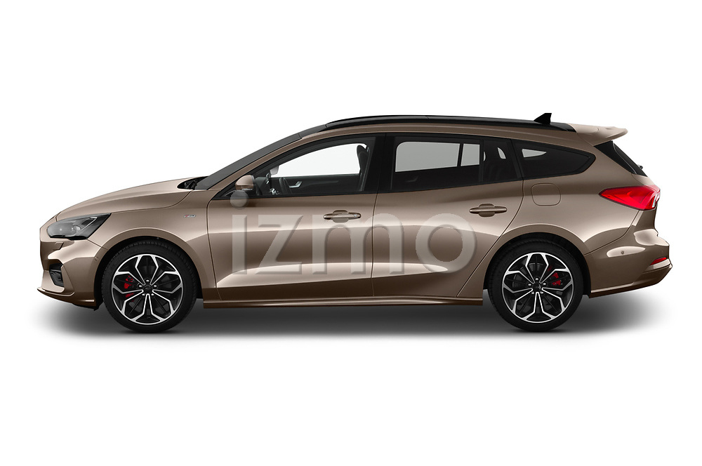 Car driver side profile view of a 2019 Ford Focus-Clipper  ST-Line 5 Door Wagon