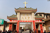 CHINA Province Shaanxi catholic church in Tongyuan, mission conference / CHINA Provinz Shaanxi , katholische Kirche in Tongyuan, Missionskonferenz