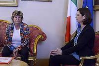 Roma, 4 Maggio 2015.<br /> Incontro tra la Presidente della Camera Laura Boldrini e la Segretaria Nazionale della CGIL Susanna Camusso<br /> La CGIL consegna in Parlamento le firme raccolte per la legge di iniziativa popolare sugli appalti