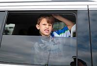 Feb 9, 2020; Pomona, CA, USA; Noah Hood sits in a tow vehicle watching during the NHRA Winternationals at Auto Club Raceway at Pomona. Mandatory Credit: Mark J. Rebilas-USA TODAY Sports