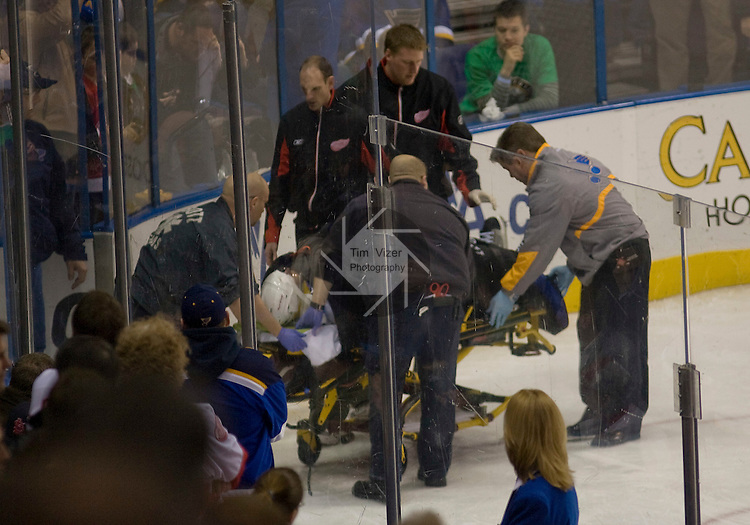 March 03 2009    Medical personnel prep Red Wings player Marian Hossa (on stretcher) for transport to a St. Louis hospital for testing after he was injured in the first period.  The St. Louis Blues hosted the Detroit Red Wings on Tuesday March 3, 2009 at the Scottrade Center in downtown St. Louis, Missouri...         *******EDITORIAL USE ONLY*******